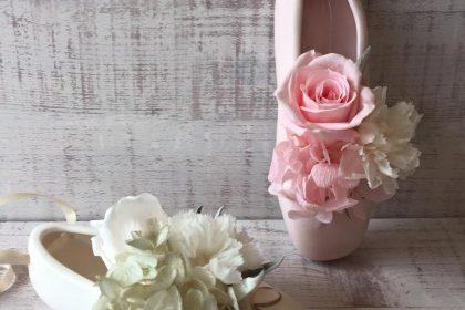 バレエシューズ アレンジメント シック ホワイト ピンク