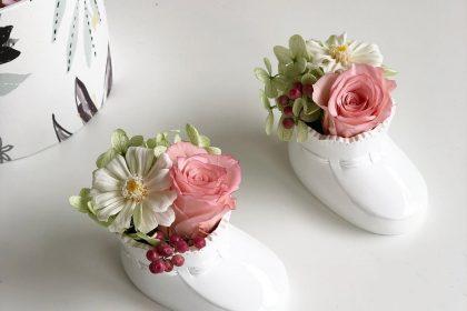 出産祝い ベビーシューズ 陶器 プリザーブドフラワー