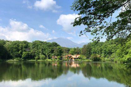軽井沢 散歩 梅雨 湖 青空 森 浅間山 景色 夏
