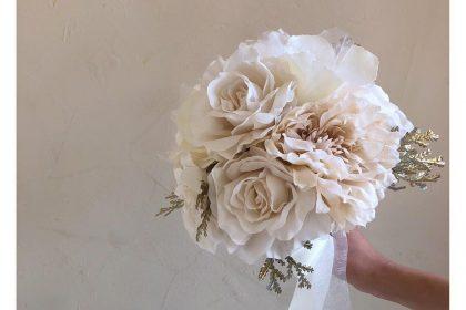 結婚式 花嫁 ホワイト ゴールド ブーケ オーダー 生花 アーティフィシャルフラワー