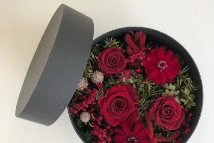 丸いボックス プリザーブドフラワー アレンジ お悔みの花 リクエスト オーダー