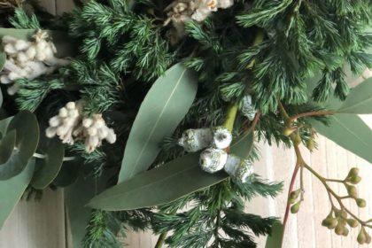 クリスマス リース ワークショップ レッスン グリーン 白 つくる