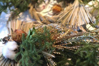 新年 正月 稲穂 リース ワークショップ レッスン 花瓶 活ける 花 仏壇 墓 お供え